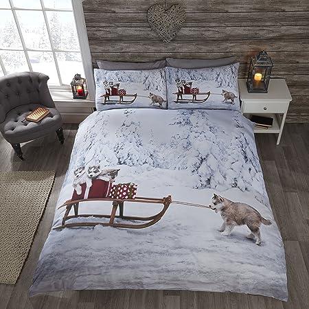 Copripiumino Matrimoniale Cani.Natale Husky Cane Husky Cute Cucciolo Di Natale Slitta
