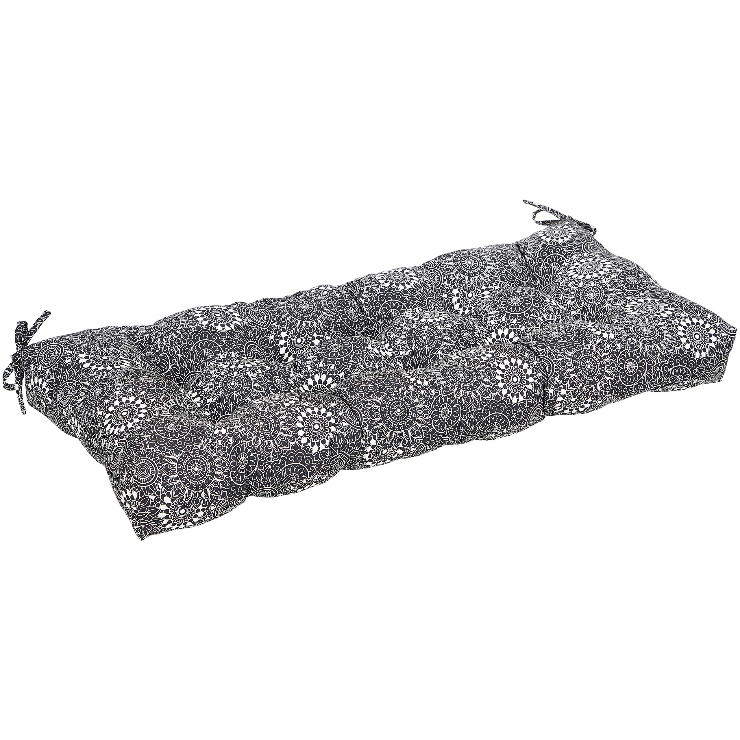AmazonBasics Bench Patio Cushion- Poly Fiber - Black Floral