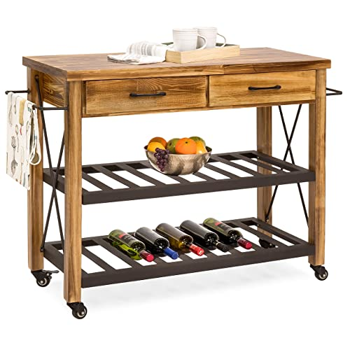 Modern Rustic Industrial Country Portable Kitchen Cart: Rustic Kitchen Island: Amazon.com