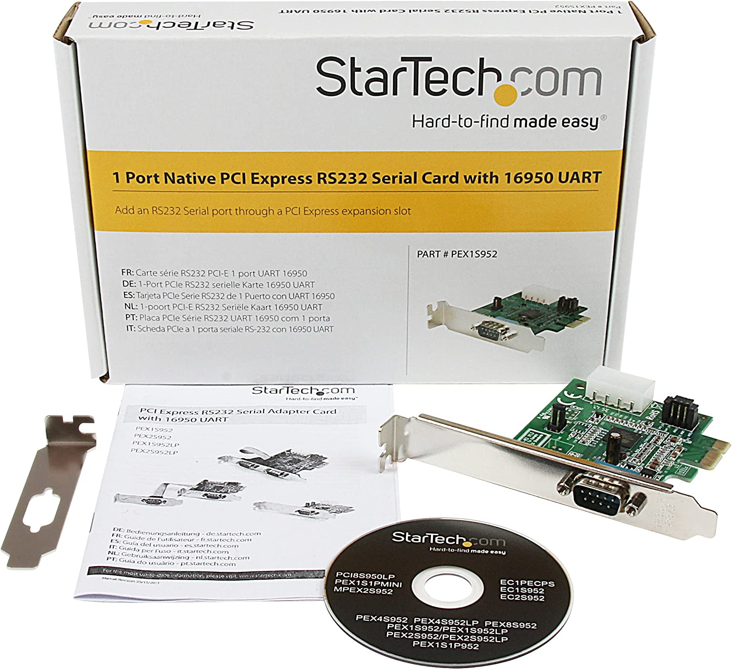 StarTech.com 1 Port Native PCI Express RS232 Serial Adapter Card with 16950 UART (PEX1S952)