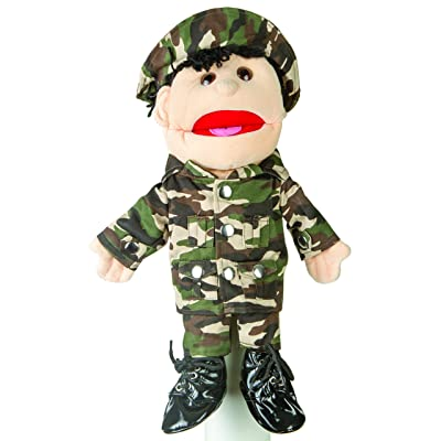 "Sunny toys 14"" Black-Haired Army Boy Glove Puppet: Toys & Games"