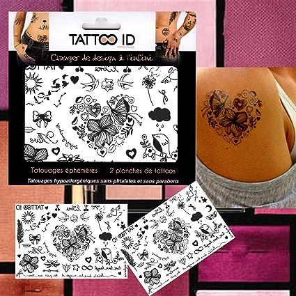 TATTOO ID ROMÁNTICO tatuaje efímero temporal hipoalergénico ...
