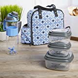 Fit & Fresh Wichita Insulated Lunch Bag with Reusable Container Set and 24 oz Active Sport Bottle (Cornflower Tiger Eye)