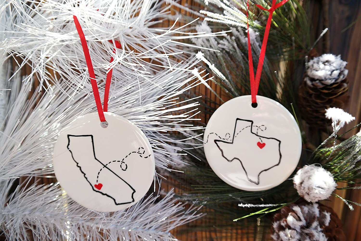 Amazon Com State To State Christmas Ornament Christmas Gift For Best Friend Long Distance Relationship Christmas Gift Ideas Personalized Ornament Long Distance Friend Gift Best Friend Gift Handmade
