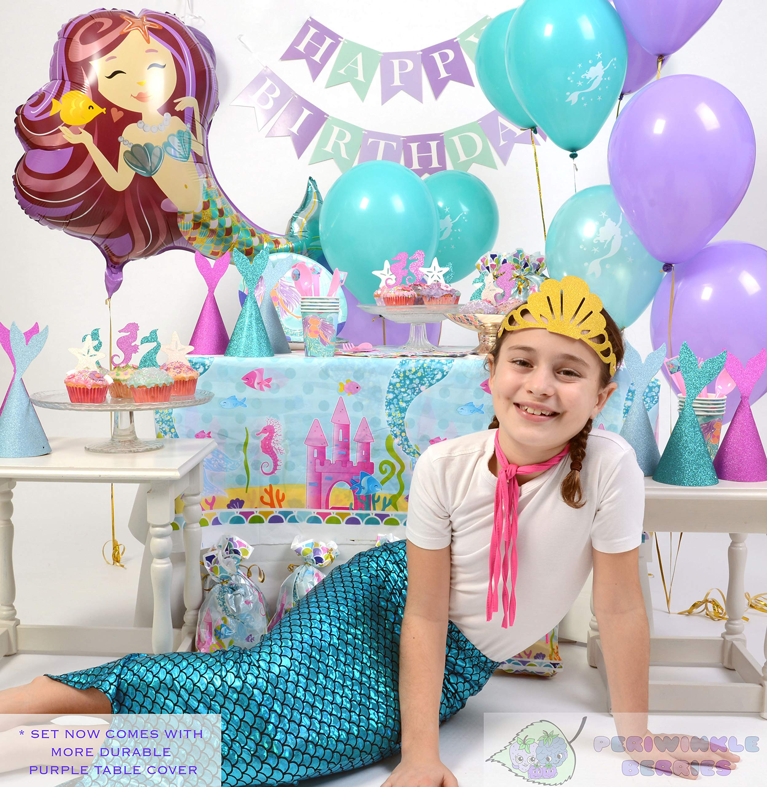 Mermaid Party Supplies - Complete Tableware and Decoration Deluxe Set - Plates, Cups, Utensils, Napkins, Table Cloth, Balloons, Happy Birthday Banner, Cupcake Topper, Favor Bags, Mermaid Hats & Crown by Periwinkle Berries (Image #5)