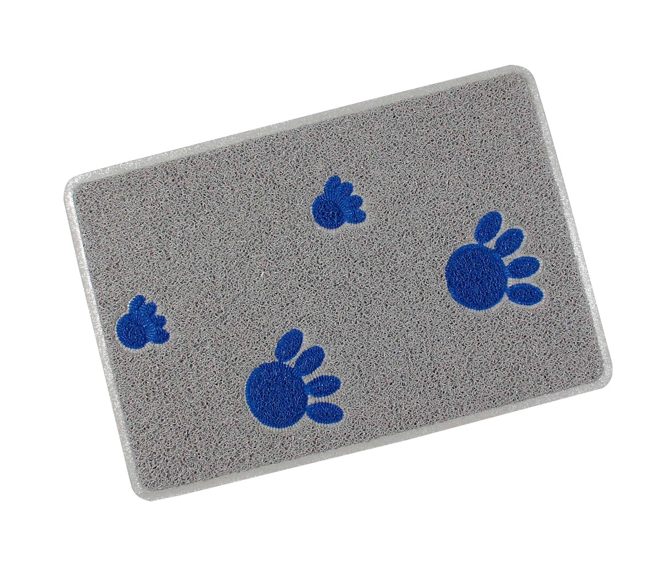 Smartcatcher Chic Paws Cat Litter Mat Gray and Blue Large