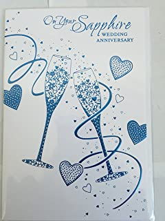 sapphire anniversary card 45 years amazon co uk office products