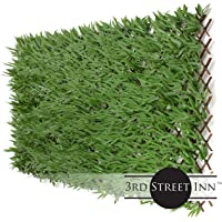 3rd Street Inn Bamboo Leaf Trellis 1-Pack - Bamboo Greenery Panel - Boxwood and Ivy Privacy Fence Substitute - DIY Flexible Fencing (Bamboo)
