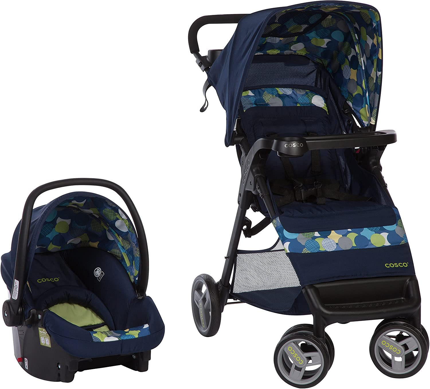 Cosco Simple Fold Travel System with Light and Comfy 22 Infant Car Seat, Comet