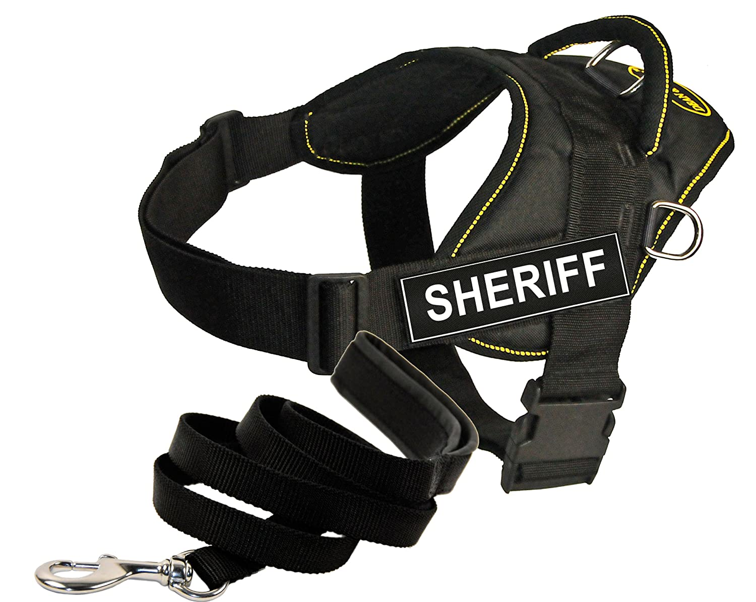 Dean and Tyler Bundle One DT Fun Works  Harness, Sheriff, Yellow Trim, Medium (28  34 ) + One Padded Puppy  Leash, 6 FT Stainless Snap Black