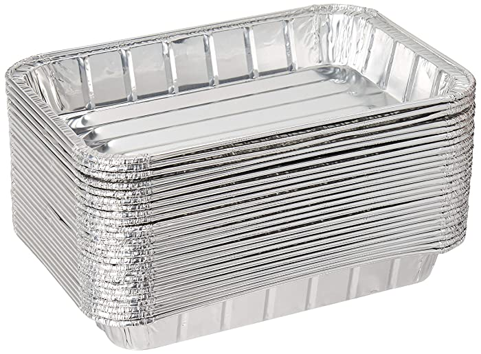 "Pack of 25 Disposable Aluminum Foil Toaster Oven Pans - Mini Broiler Pans | BPA Free | Perfect for Small Cakes or Personal Quiche | Standard Size - 8 1/2"" x 6"""