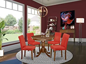"East West Furniture 5Pc Round 36"" Table And 4 Parson Chair With Mahogany Leg And Pu Leather Color Firebrick Red"