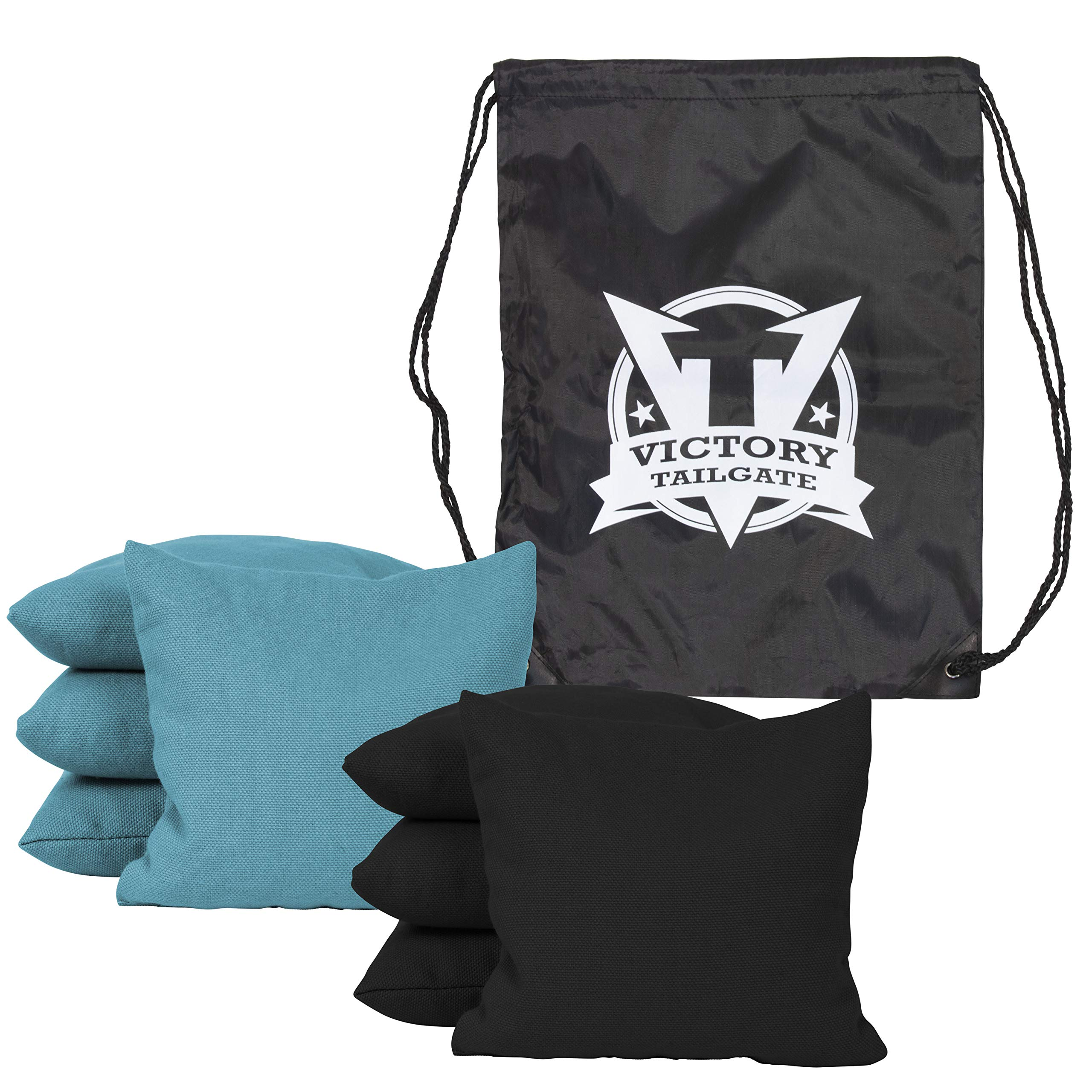 Victory Tailgate 8 Colored Corn Filled Regulation Cornhole Bags with Drawstring Pack (4 Black, 4 Turquoise)