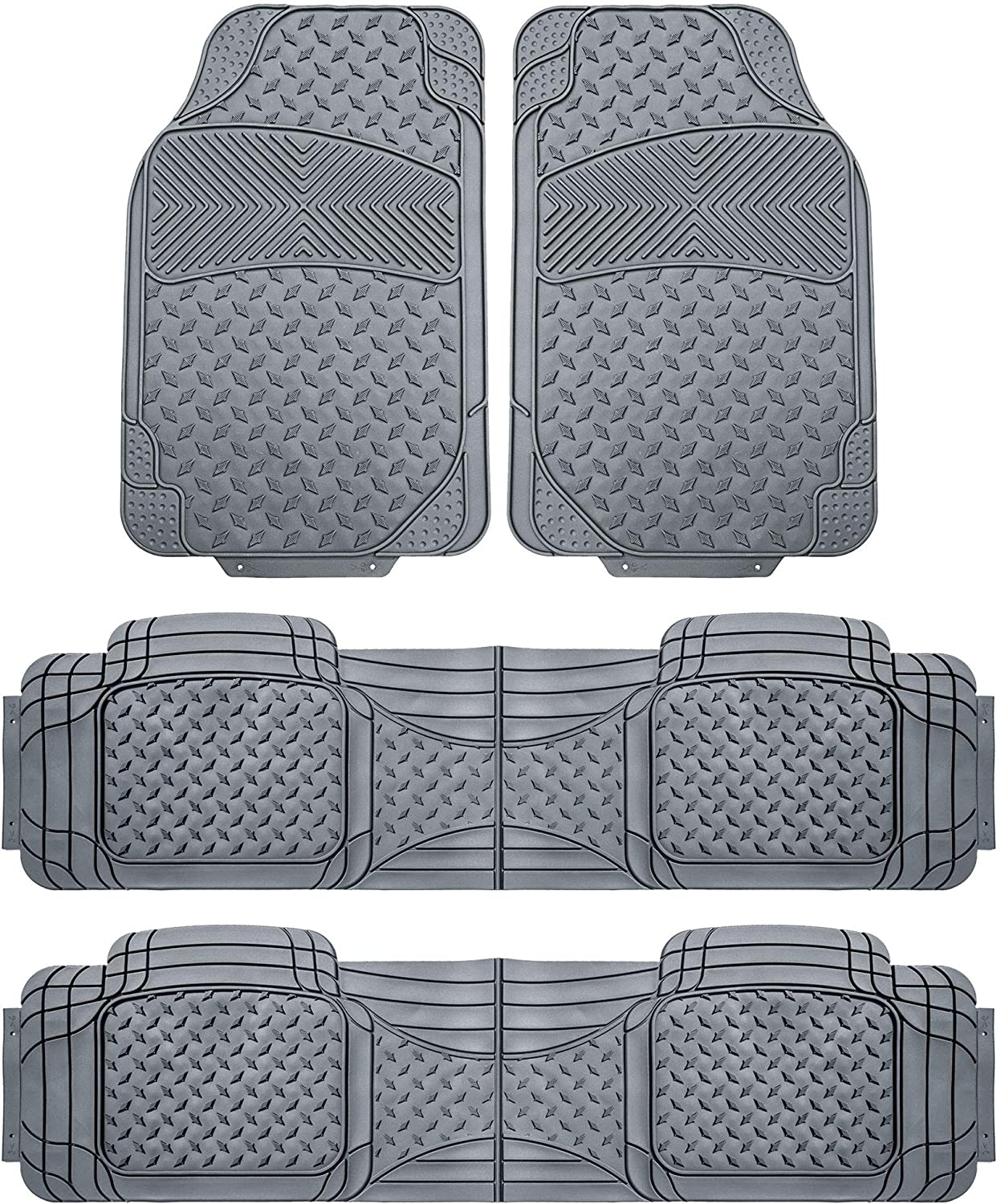FH Group F11307GRAY-3ROW Gray- 3 Row F11307GRAY Trim to Fit Weather SUV Floor Mats