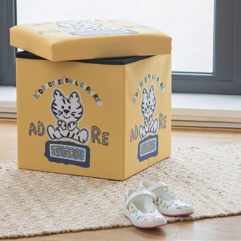 pouf contenitore orso cesta porta-giochi HxLxP 38x38x38 cm Relaxdays Sgabello pieghevole bambini scatola con coperchio