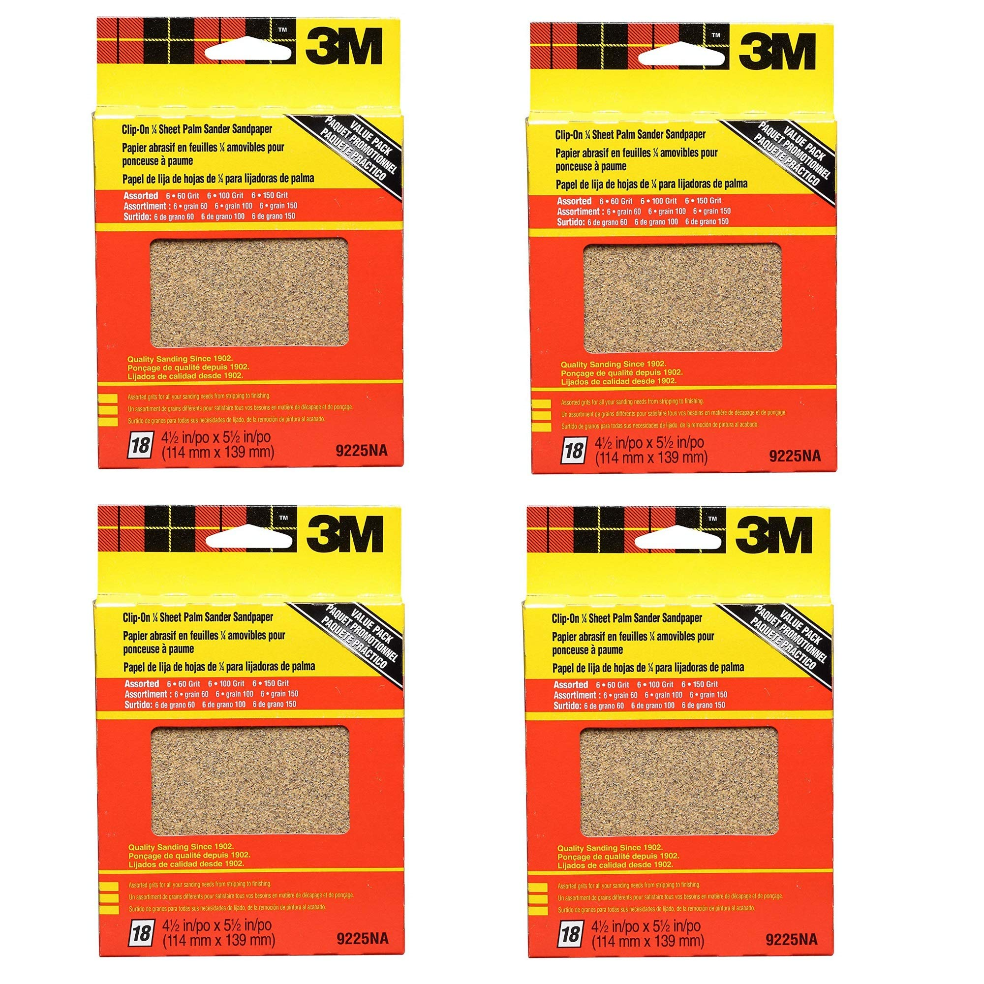 3M 9225NA 4.5-Inch by 5.5-Inch Clip-On Palm Sander Sheets, Asst. Grit, 18-pack, 4 PACK by 3M