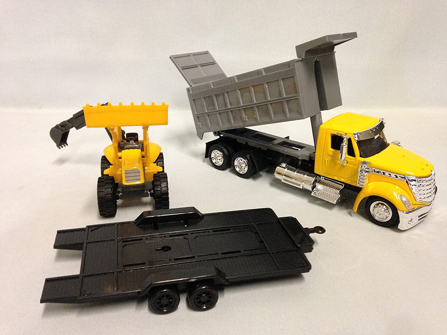 New Ray International Lonestar Dump Truck w Wheel Loader 1 43 Scale 18 DIECAST Toy #16633 Yellow