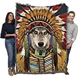 Wolf Spirit Chief - Vincent HIE - Cotton Woven Blanket Throw - Made in The USA (72x54)