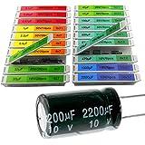 EEEEE 0.1uF-2200uF capacitors 20 Value 304pcs Individual Box Lid Electrolytic Capacitor Assortment kit for Industrial Electri