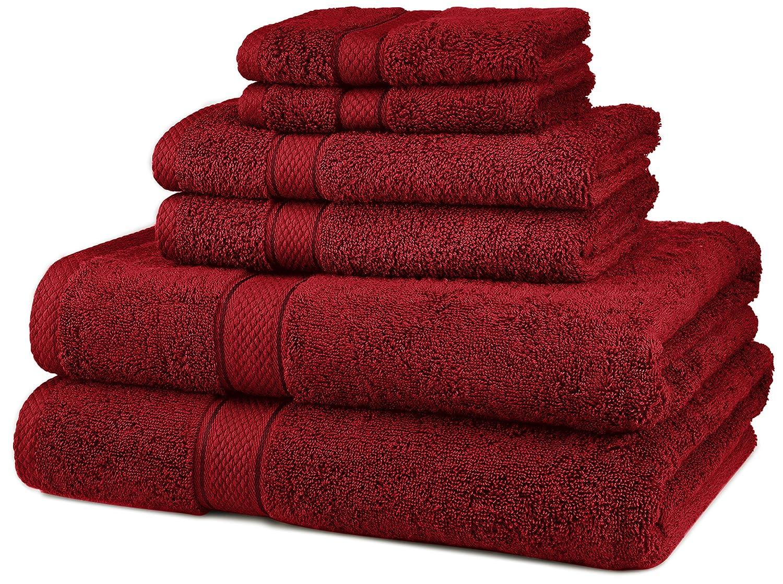 Juego de Toallas de algodón Egipcio de Pinzon, de 725 g, 100% algodón Felpa algodón, Cranberry, 6-Piece: Amazon.es: Hogar