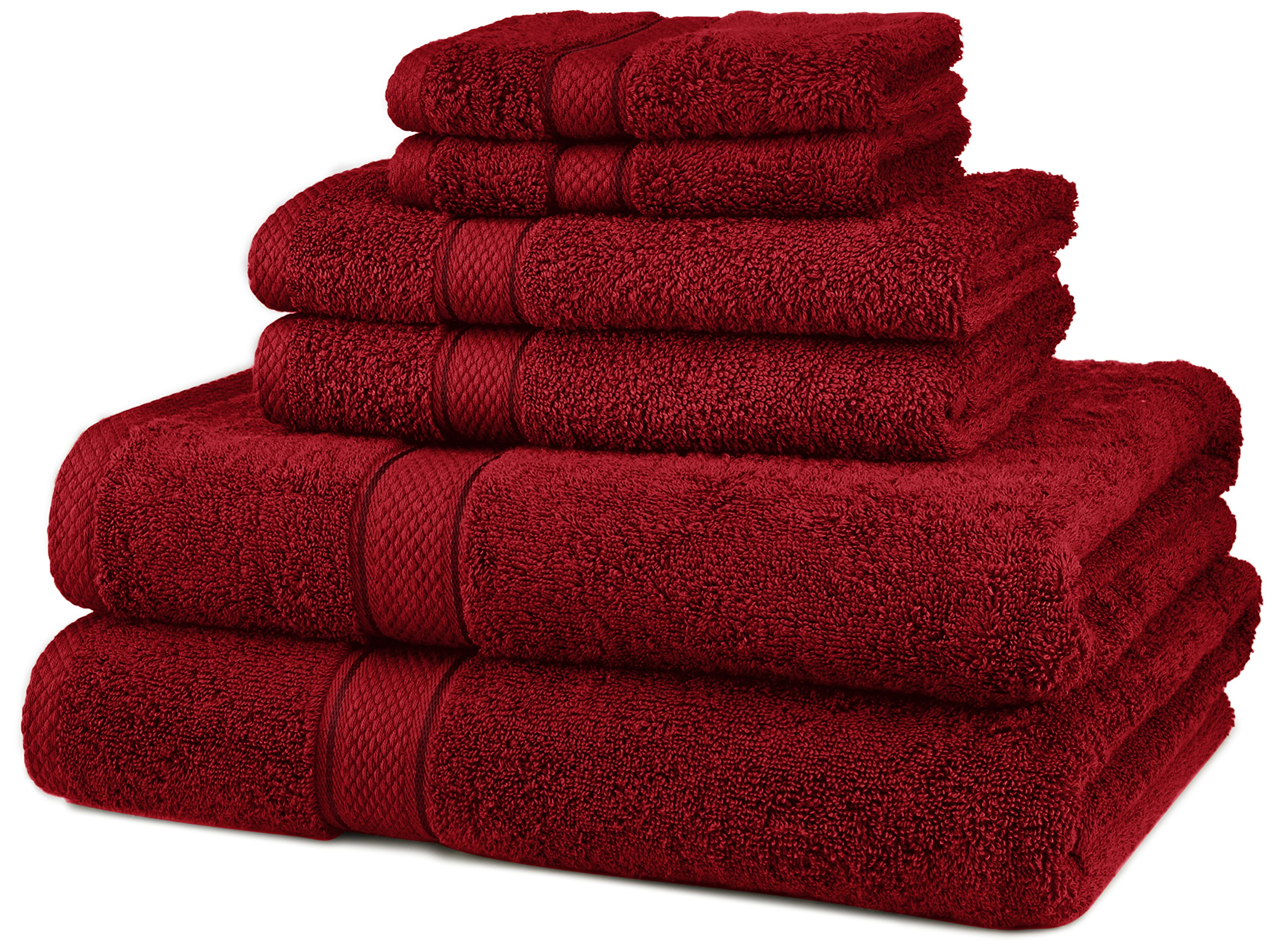Pinzon Blended Egyptian Cotton 6-Piece Towel Set, Cranberry by Pinzon by Amazon