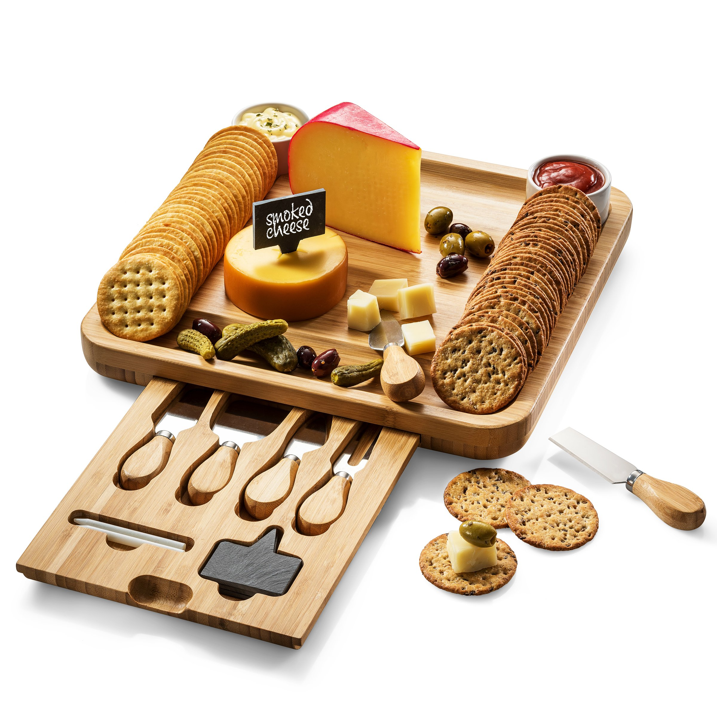 Bamboo Cheese Board With Cutlery Server Set Meat Wood Charcuterie Serving Platter Tray With 2 Ceramic Bowls & 3 Slate Labels & 2 Chalk Markers.With Hidden Drawer Comes with 4 Stainless Steel Knives