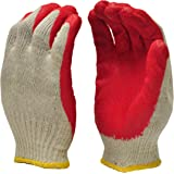 G & F 3106-10 String Knit Palm, Latex Dipped Nitrile Coated Work Gloves for General Purpose, 10-Pairs Per Pack, Red, Large