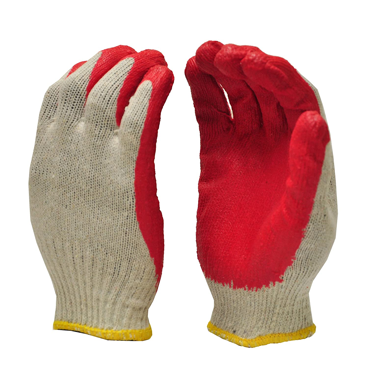 GF Gloves 3106-300 One Size Latex Dipped Palm Nitrile Coated Economical String Knit Work Glove - Red (Pack of 300) G & F