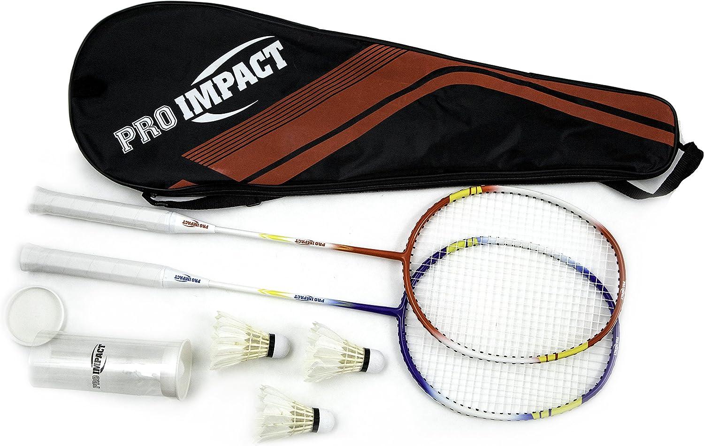 Frame Protection 2 Graphite Rackets Badminton Set with 12 Birdies Bag Grip