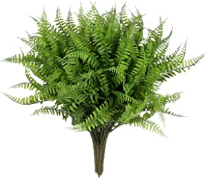 Grand Verde Tassel Fern Artificial Faux Plants Set of 10, Real Touch Plastic Greenery Leaf for Gift, DIY, Garden, Patio, Balcony, Office, Room, Kitchen, Party, Wedding, Home Decor (Dark Green)