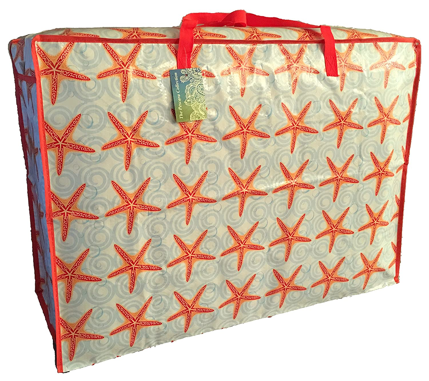Extra Large storage bag 115 litres. Red Starfish pattern. Toys, washing and laundry bag The Pescara Collection