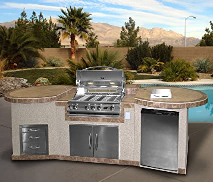 Cal Flame 3 Piece Outdoor Kitchen Island e3022 with 4-Burner Built in  Grill, 30\