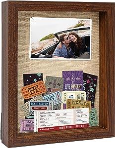 PKaL 8 x 10 Shadow Box Frames - Shadow Box Display Case for Memorabilia Keepsake with Stick Pins - Memory Shadow Box for Wedding,Baby,Sports Medal,Game Ticket,Picture, Flower, Wood Shadow Box(Walnut)