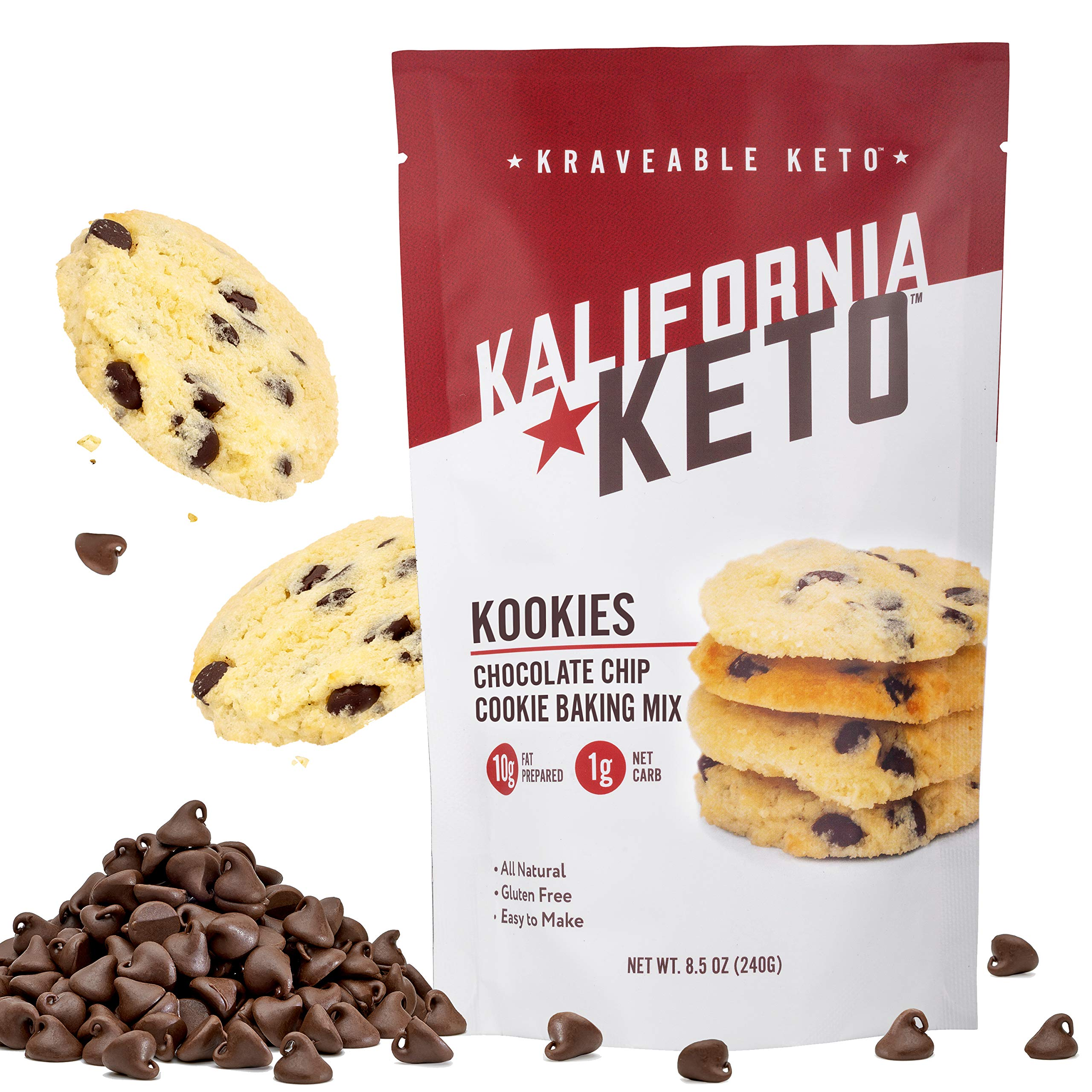 Kalifornia Keto Chocolate Chip Cookie Mix – Low Carb, Keto-friendly, and Sugar Free, 8.5 oz pack (15 Keto Cookies) – Gluten Free, Soy Free, Dairy Free, and Grain Free Keto Baking Mix