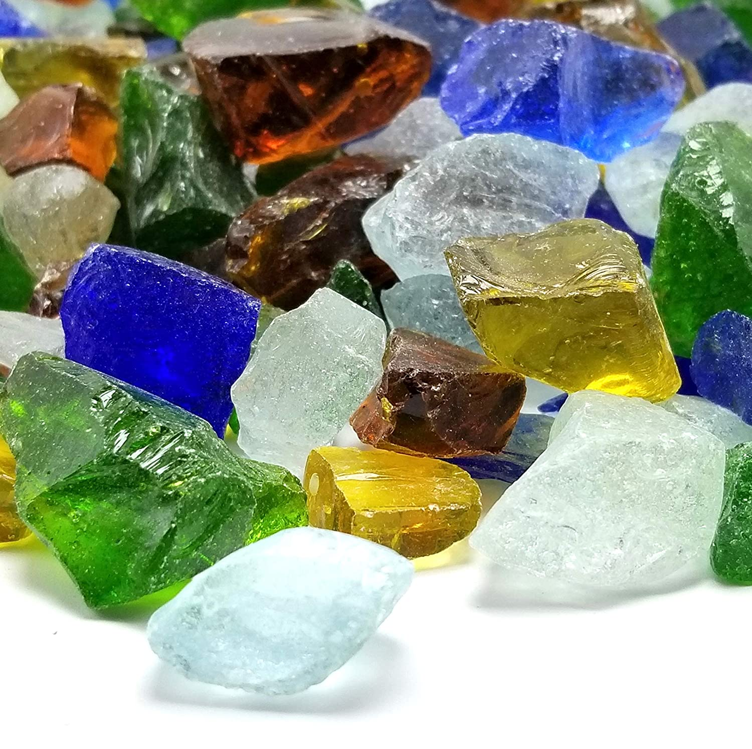 VIVID Heat - Sea Glass Blend Premium Outdoor Crushed Fire Glass Rock (5-Pound) Large 1/2, 3/4 & 1 inch Chunky Blended Glass Fire Pit, Fire Place & More, Beach Glass (Green, Amber, Blue, Clear)