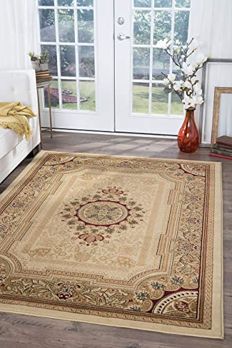 Jayden Traditional Oriental Ivory Rectangle Area Rug, 8 x 10