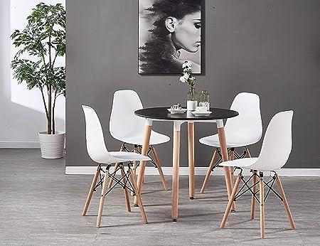 P&N Homewares Table à Manger Ronde Noire + 4 Chaises ...