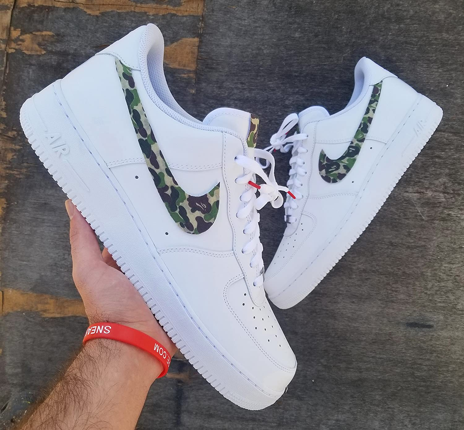 0fe4ee724fa9d Amazon.com: Nike Air Force 1 AF1 Custom Bape Swooshes Camo Edition ...