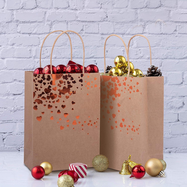 Feste Sacchetti Regalo Carta Bianchi 18 Pezzi Sacchetti Carta con Manici Bianchi con Cuori in Oro e Bronzo Party e Regali Buste Carta con Manico per Natale per Matrimoni