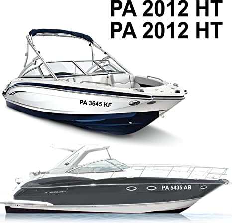 1060 Graphics Reflective Boat Registration Numbers 3 High X 22 Long
