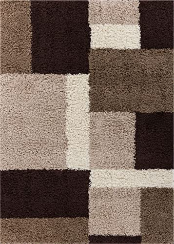 Well Woven Madison Shag Cubes Beige Brown Modern Area Rug 3 3 X 5 3