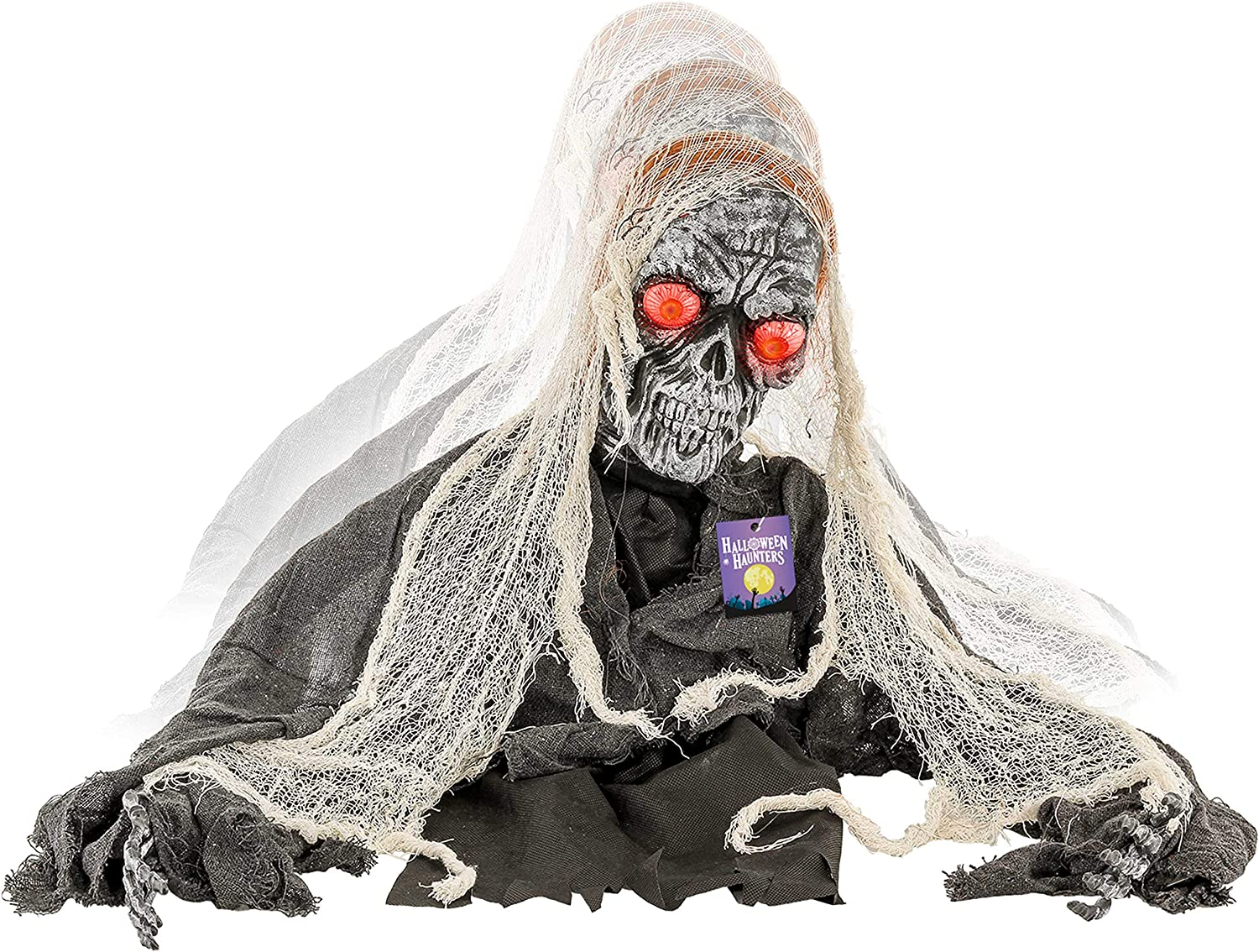 Halloween Haunters Animated Moving Skeleton Groundbreaker Zombie Graveyard Prop Decoration with LED Light-up Bloodshot Eyes - Speaks Scary Howls and Thunders - Haunted House Cemetery Tombstone Display