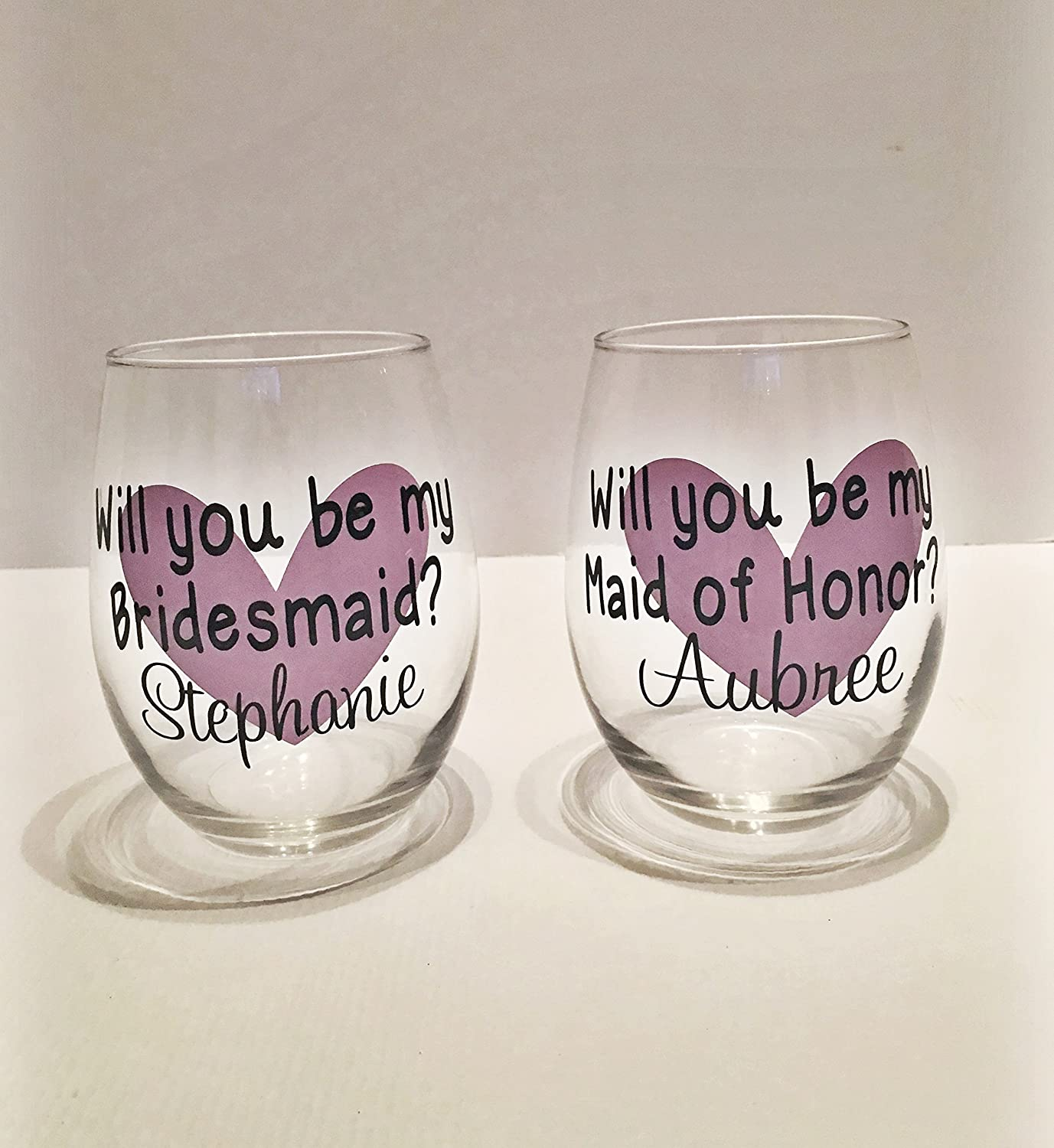Will You Be My Maid of Honor Stemless Wine Glass