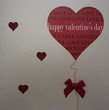 White Cotton Cards Heart Balloon Happy Valentines Day Handmade