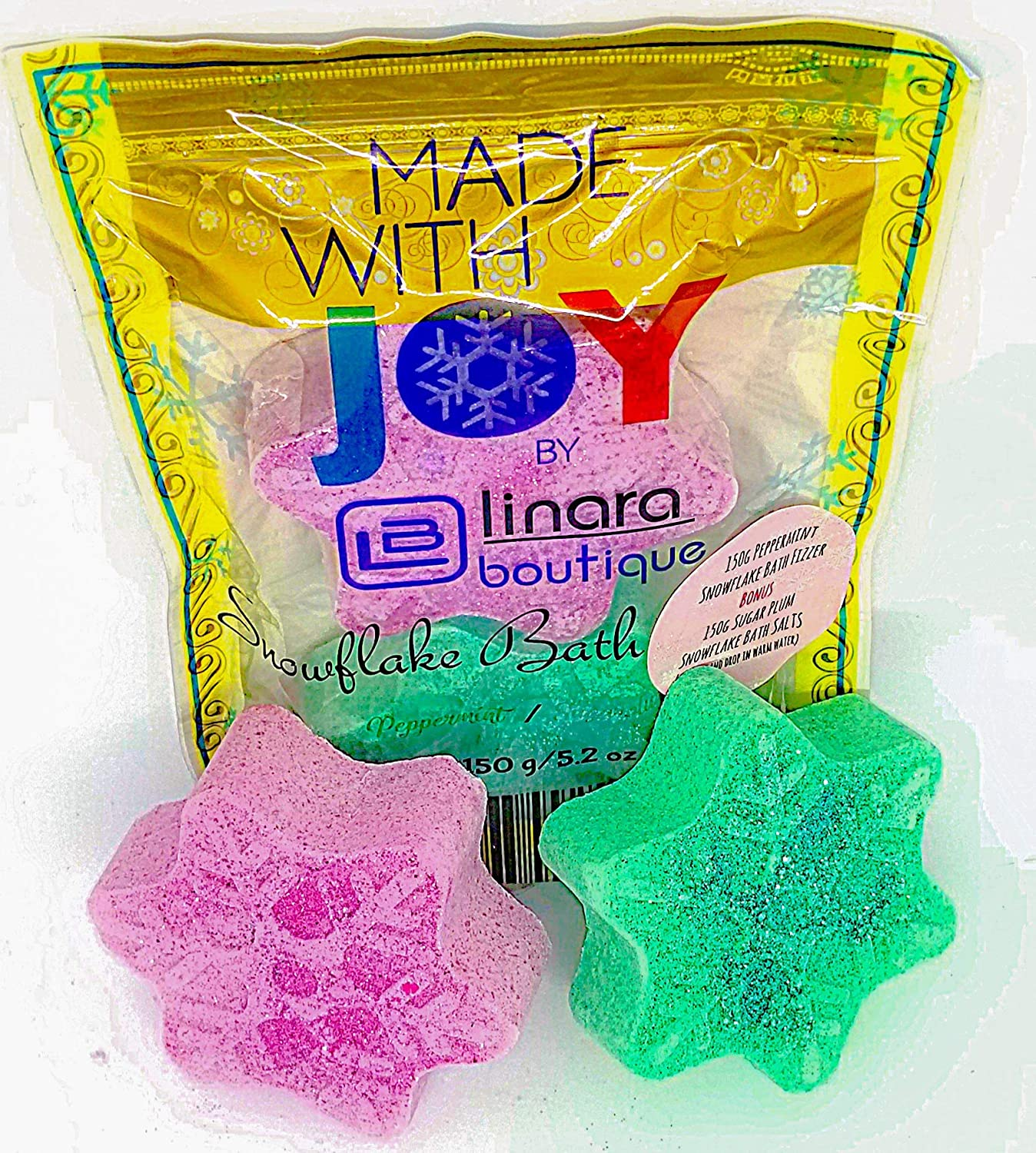 Beautifully Packaged Snowflake Bath Bomb and BONUS Bath Salts Gift Set 150g Peppermint Bath Fizzer & 150g Sugar Plum Bath Salt GREAT STOCKING STUFFER Linara Boutique
