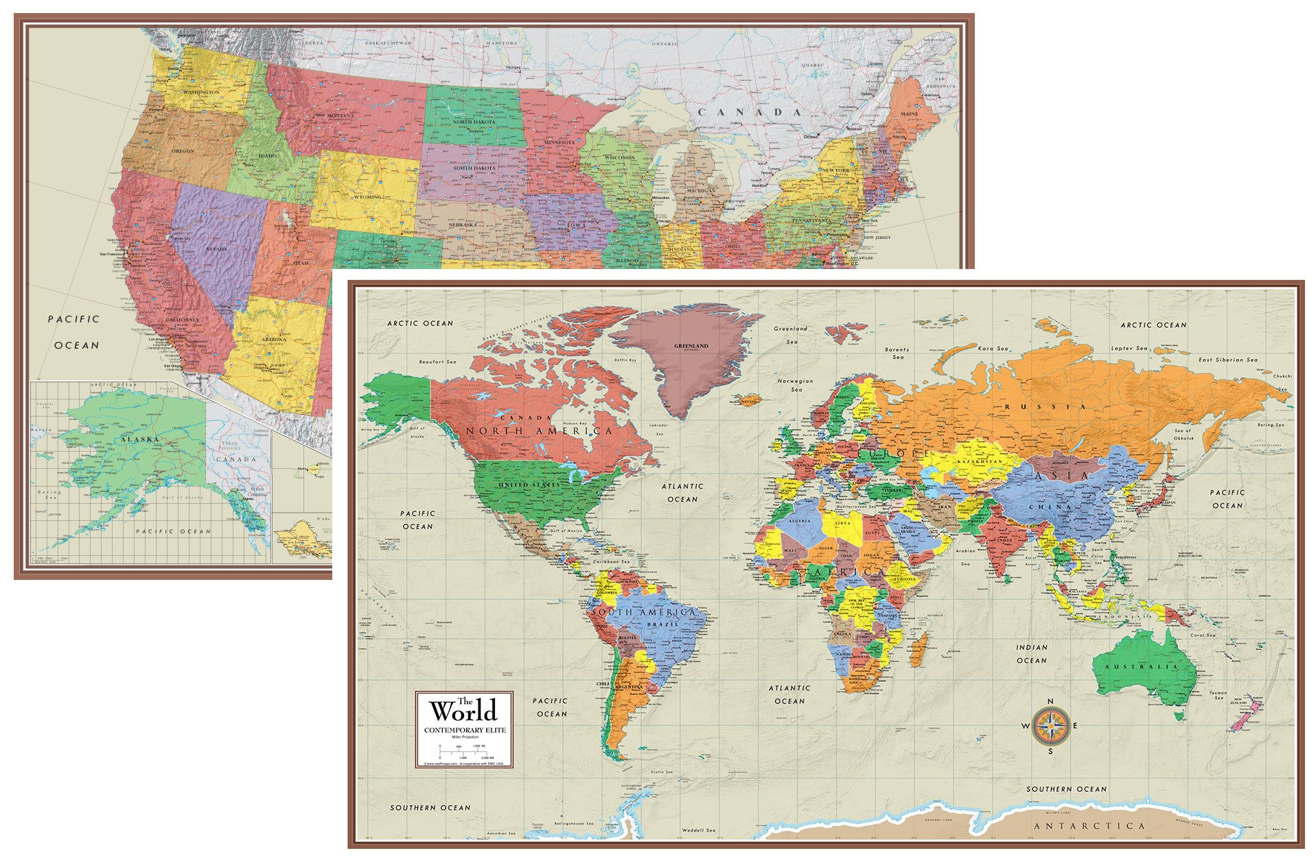 Swiftmaps World and USA Contemporary Elite 3D Two Wall Map Set (24x36 Laminated)