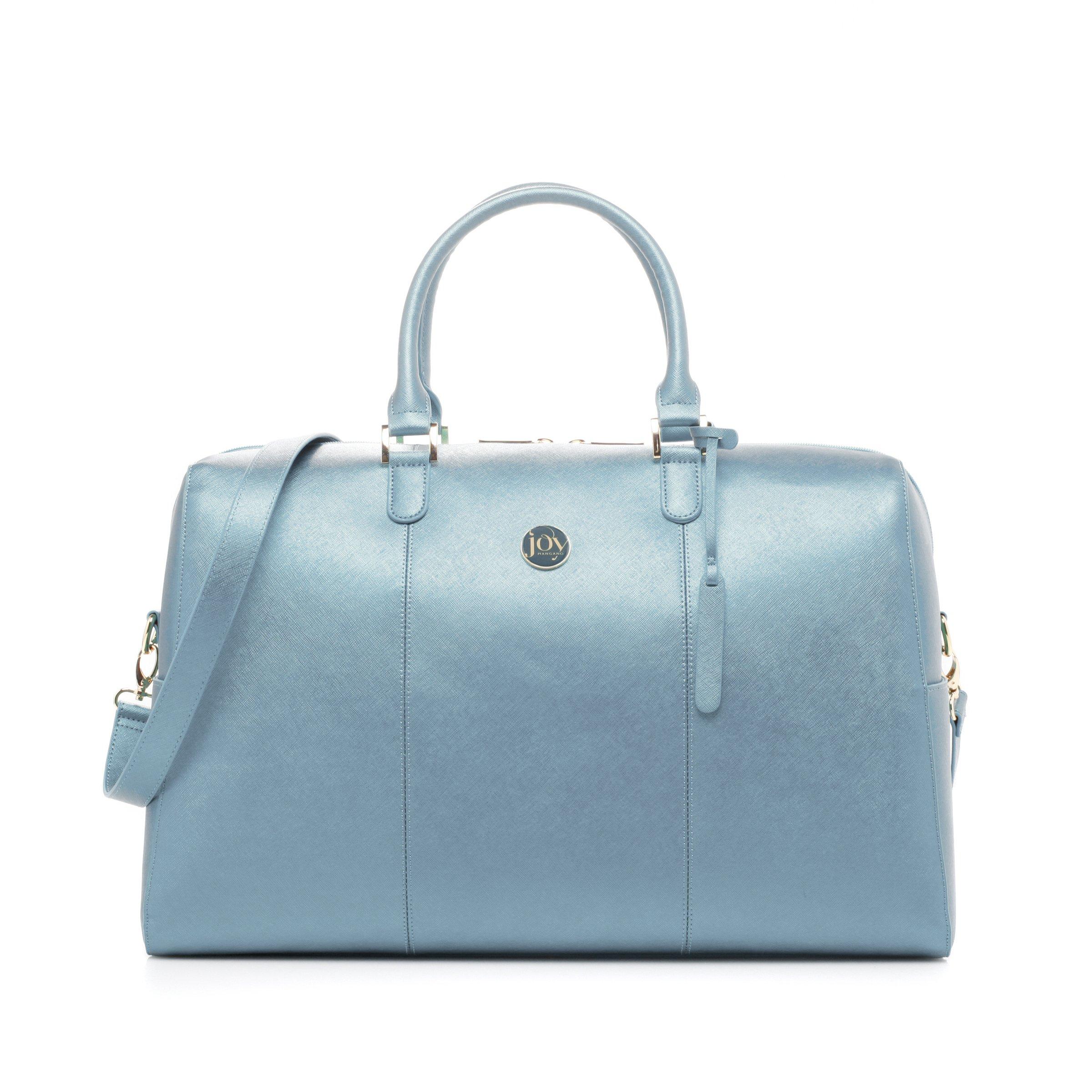 Joy Mangano Women's Jm Metallic Leather Weekender Steel Blue Bag, One Size