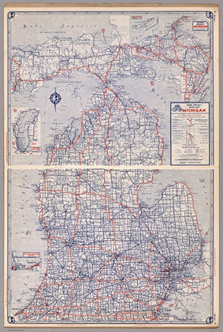 Amazon Com Map Poster Road Map Of Michigan 24 X16 5 Posters