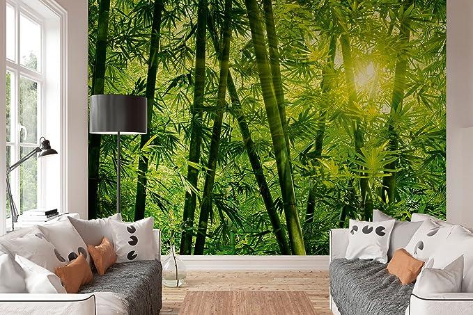Wandbild 360 x 254 cm Poster 4-teilig Fototapete Bambus grün Kleister