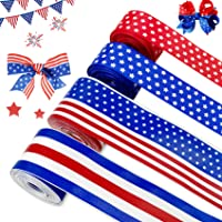 Joy Bang 4th of July Ribbon 4 Rolls Red White Blue Patriotic Ribbon Independence Day Stripes and Stars Ribbons Wired for 4th of July Wreaths Patriotic Ribbon Hair Bow Decorations